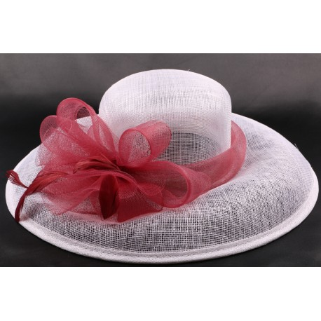 Chapeau mariée Emilie en sisal blanc et bordeaux