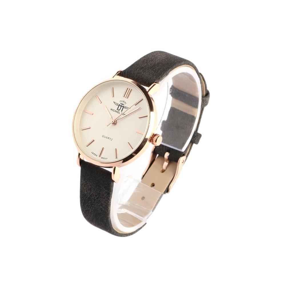 montre femme dor michael john montre bracelet cuir noir livr en 48h. Black Bedroom Furniture Sets. Home Design Ideas