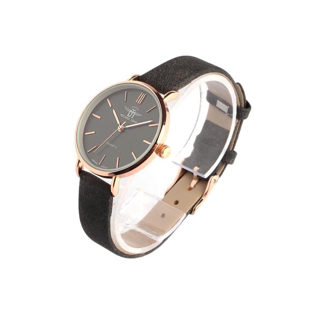 montre femme noir et dor ona montre bracelet cuir tendance livr 48h. Black Bedroom Furniture Sets. Home Design Ideas