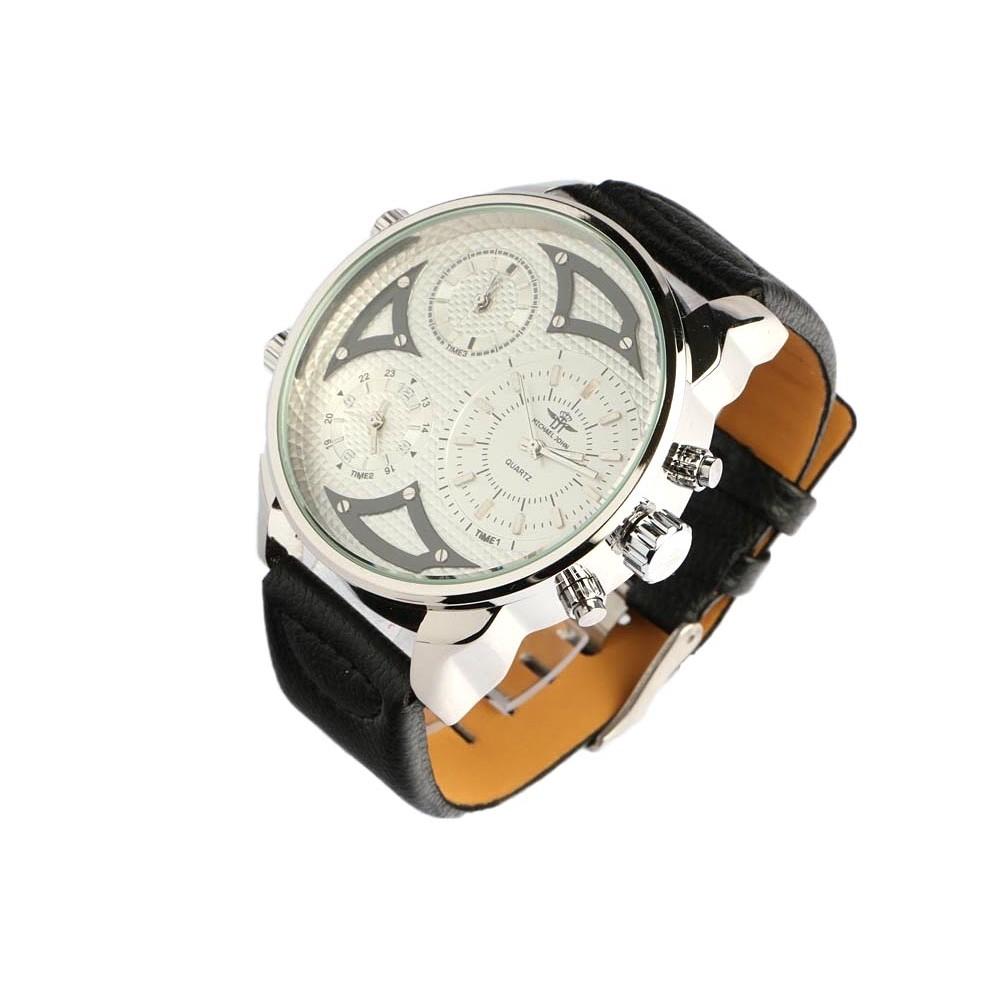 grosse montre bracelet cuir noir kronos montre chronographe livr 48h. Black Bedroom Furniture Sets. Home Design Ideas