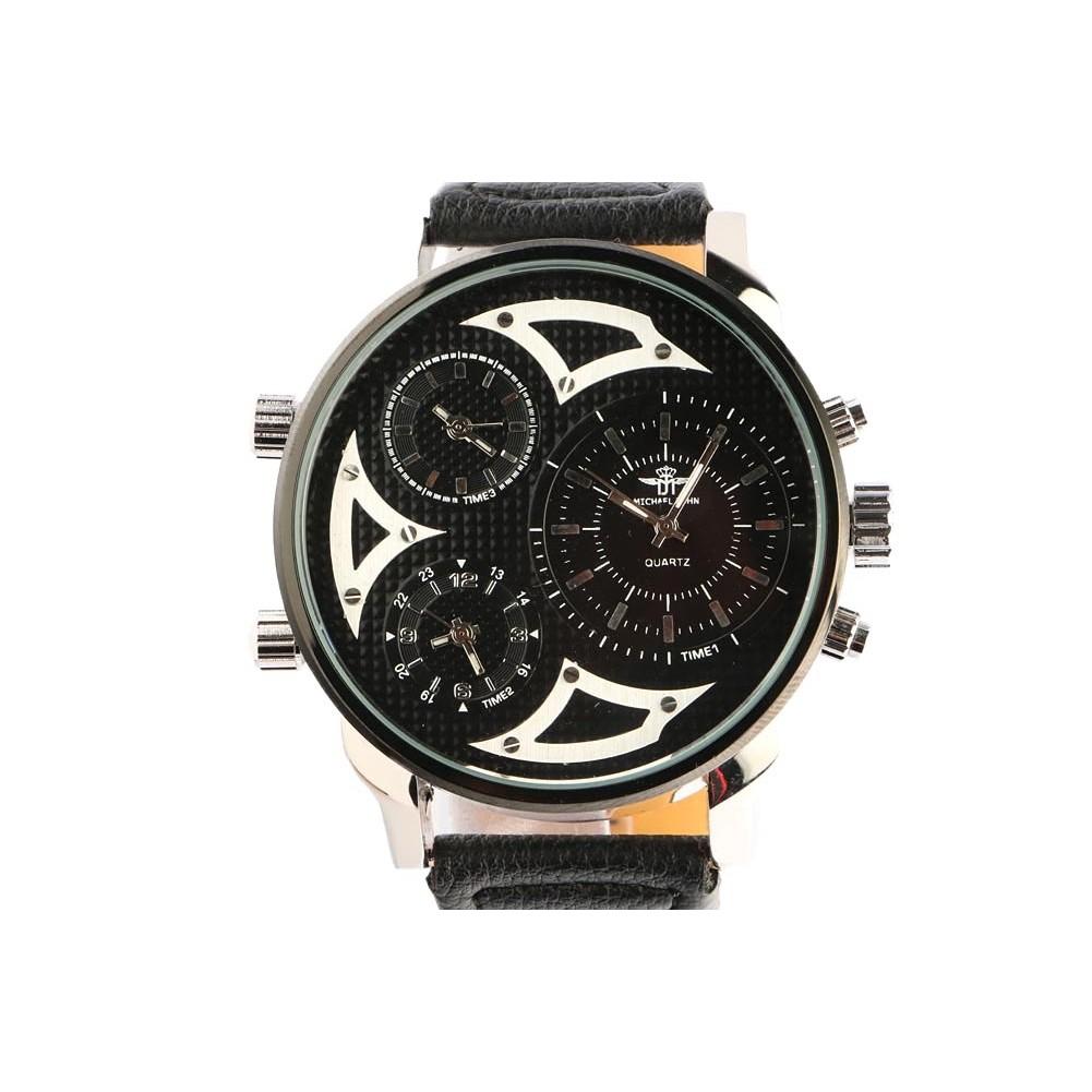 montre chronographe bracelet cuir noir grosse montre. Black Bedroom Furniture Sets. Home Design Ideas