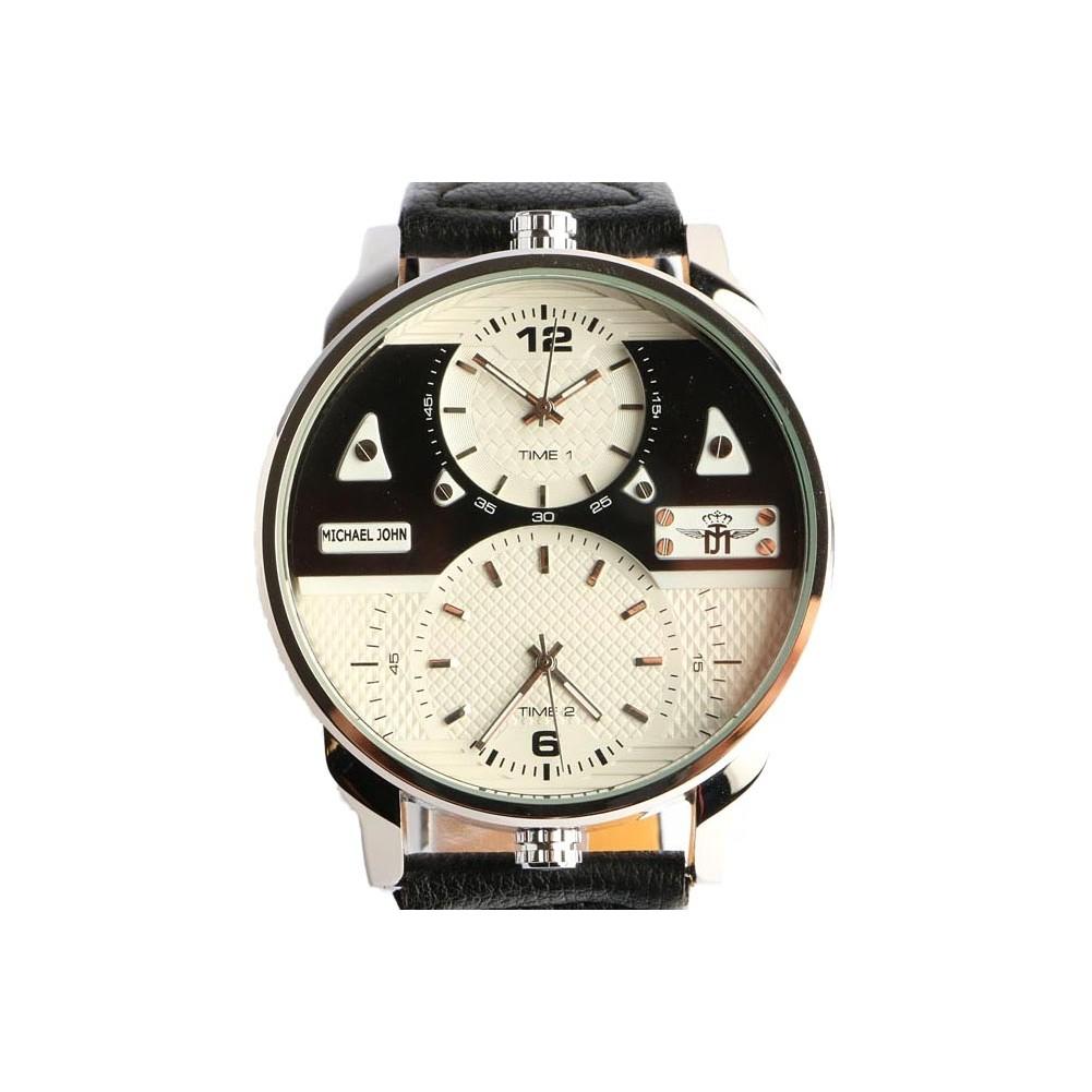 grosse montre homme double fuseau horaire foxos montre cuir livr 48h. Black Bedroom Furniture Sets. Home Design Ideas
