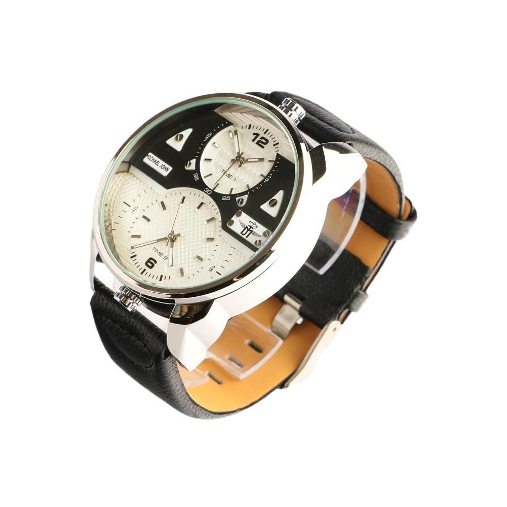 grosse montre homme double fuseau horaire foxos montre. Black Bedroom Furniture Sets. Home Design Ideas