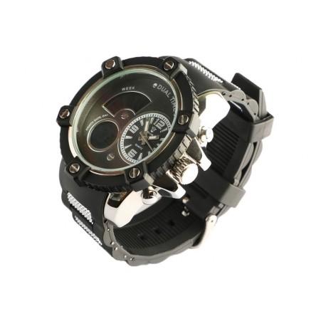 Montre homme chronometre noir bracelet gomme Koxos