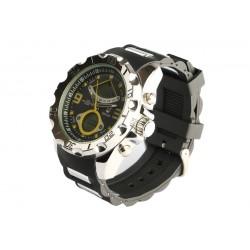 Montre homme chronometre noir et jaune bracelet gomme Kyxos Montre Bellos