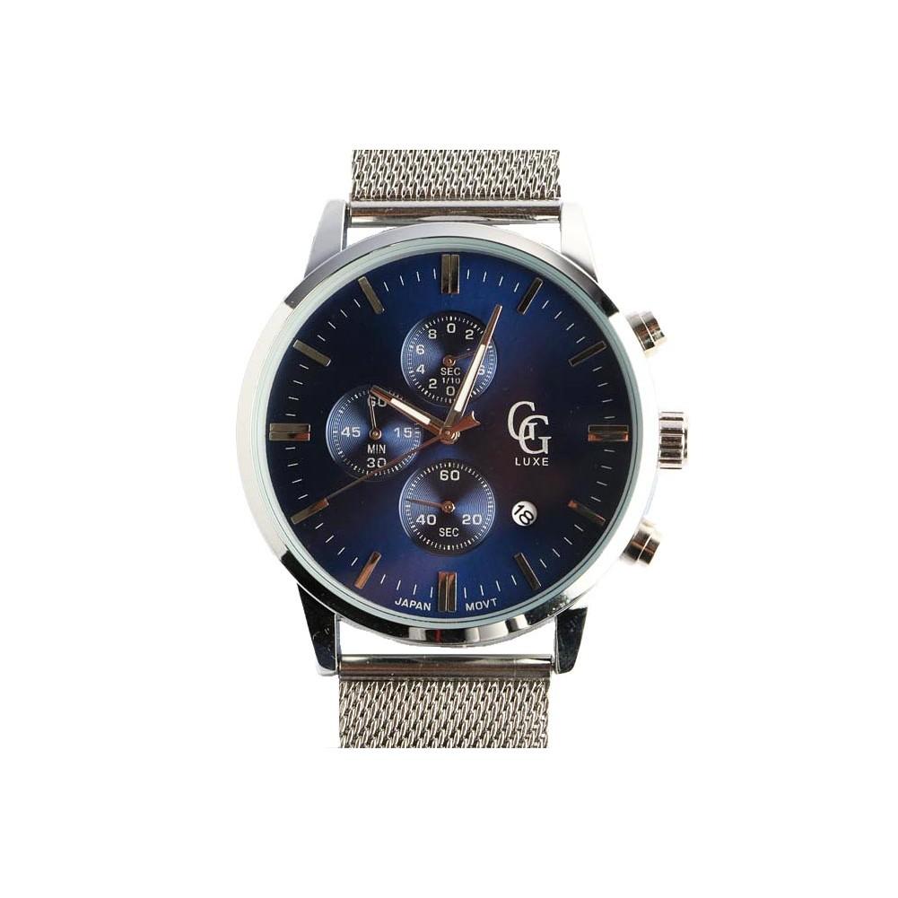 montre chronographe bleu et argent homme bracelet milanais livr 48h. Black Bedroom Furniture Sets. Home Design Ideas