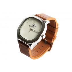 montre homme carré bracelet cuir marron Eleox