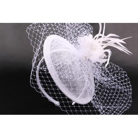Coiffe mariée Line en sisal blanchi