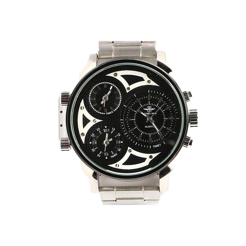 montre homme grise bracelet acier montre 3 fuseaux horaires livr 48h. Black Bedroom Furniture Sets. Home Design Ideas