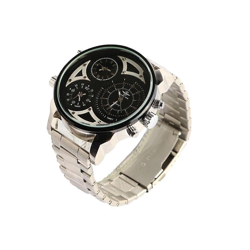 montre homme grise bracelet acier montre 3 fuseaux. Black Bedroom Furniture Sets. Home Design Ideas