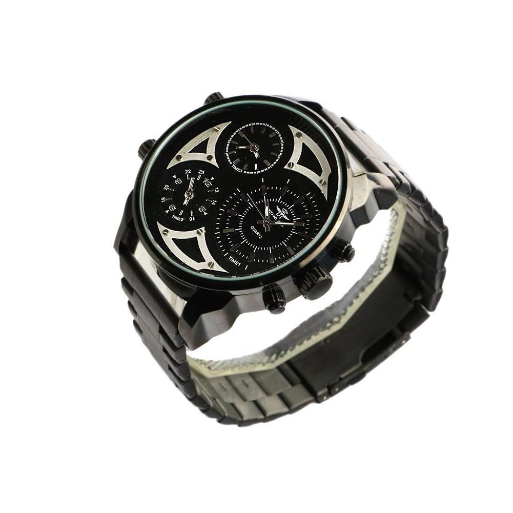 montre homme noire 3 cadrans montre bracelet acier tendance livr 48h. Black Bedroom Furniture Sets. Home Design Ideas