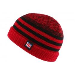 Bonnet court rouge et noir drapeau UK par Nyls Creation BONNETS Nyls Création