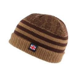 Bonnet court marron drapeau UK par Nyls Creation