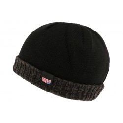 Bonnet docker noir et gris drapeau USA Nyls Creation