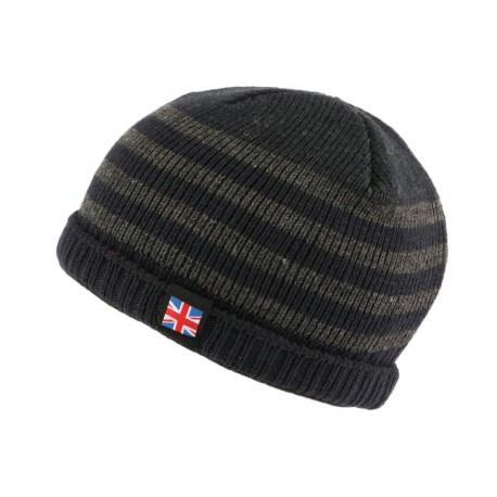 Bonnet court bleu et gris drapeau UK par Nyls Creation