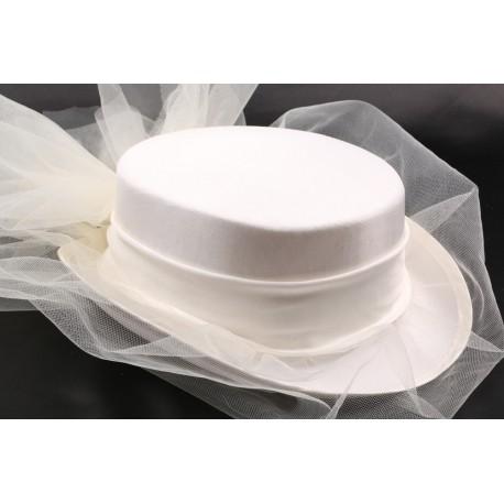 Chapeau mariée Ludmilla en taffetas écru
