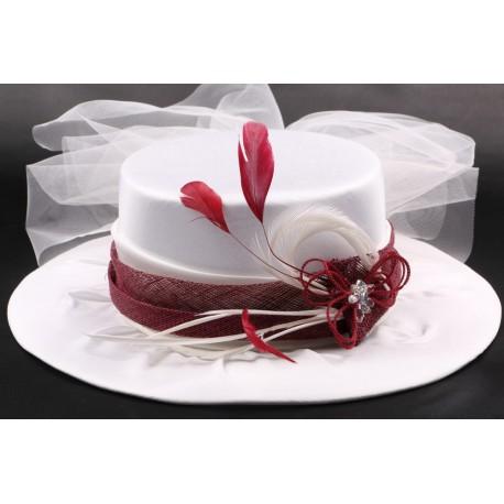 Chapeau mariée Estelle en taffetas écru