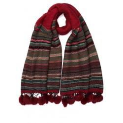 Grande echarpe pompon rouge en laine Lyvak Echarpe Nyls Création