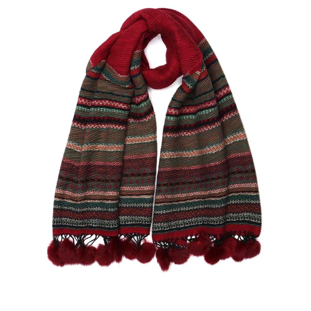 grande echarpe pompon rouge lyvak charpe femme en laine livr 48h. Black Bedroom Furniture Sets. Home Design Ideas
