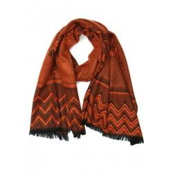 Grande écharpe femme orange et noir Patchay Echarpe Nyls Création