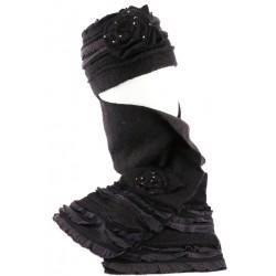 Bonnet echarpe noir et gris en laine bouillie Mona
