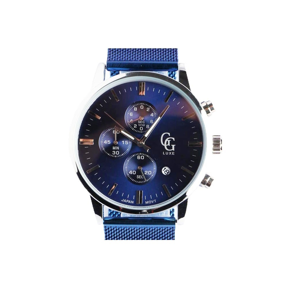 montre chronographe bleu homme bracelet maille milanaise livraison 48h. Black Bedroom Furniture Sets. Home Design Ideas