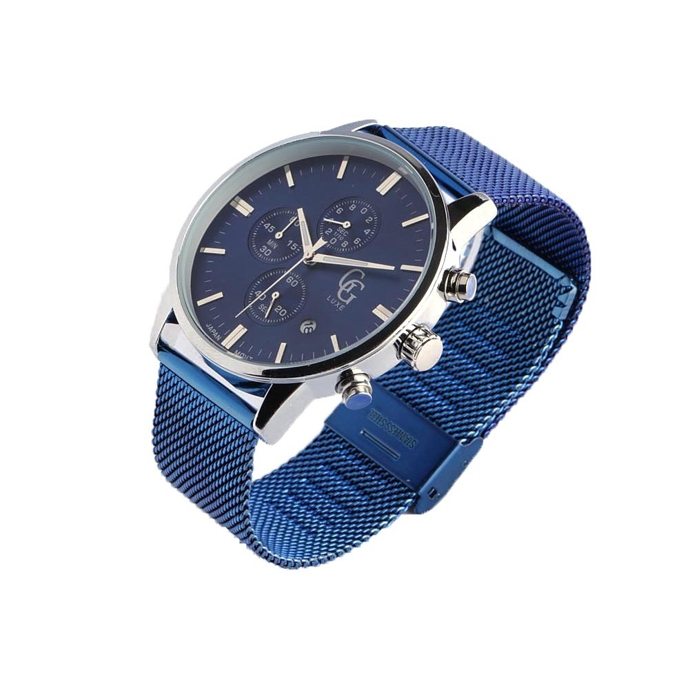 montre chronographe bleu homme bracelet maille milanaise. Black Bedroom Furniture Sets. Home Design Ideas