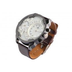 Grande montre double fuseau horaire marron Fortex Montre Michael John