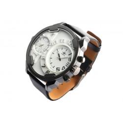 Grande montre double fuseau horaire noire Fortex
