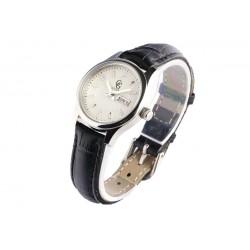 Petite montre femme noire cuir et dateur Astya