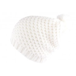 Bonnet pompon Blanc Erwan Nyls Création BONNETS Nyls Création