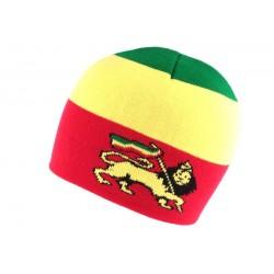 Bonnet Court rouge Jamaique avec Lion Nyls Création BONNETS Nyls Création