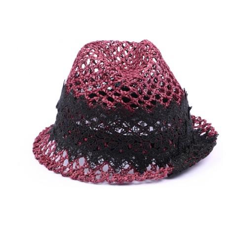 Chapeau paille John rouge et noir