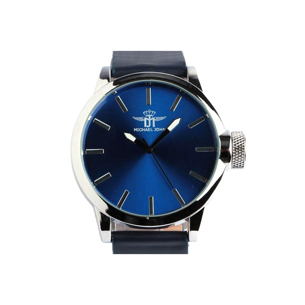 grosse montre bleue homme michael john montre tendance livr en 48h. Black Bedroom Furniture Sets. Home Design Ideas