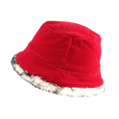 Chapeau Cloche Rouge avec Fourrure Lola