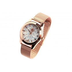 Montre dore femme à paillettes grises bracelet milanais Nymphea