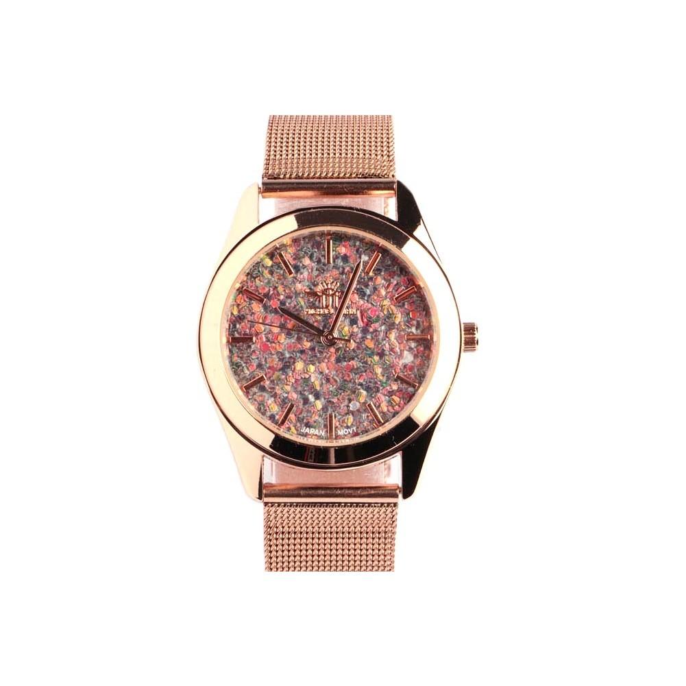 montre dor e paillette bleue bracelet milanais montre. Black Bedroom Furniture Sets. Home Design Ideas