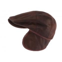 Casquette cache oreille cuir suédine marron Epsom Aussie Apparel