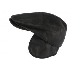 Casquette cache oreille cuir suédine noir Epsom Aussie Apparel