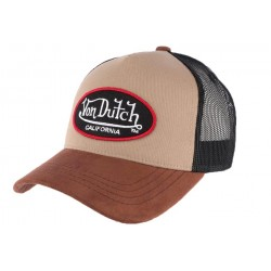 Casquette Trucker Von Dutch Marron Suede