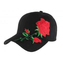 Casquette baseball noire rose Rouge