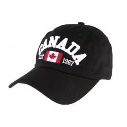 Casquette baseball Canada noire en coton