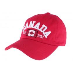 Casquette baseball Canada rouge en coton