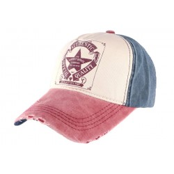 Casquette baseball vintage bleue et rouge Authentic