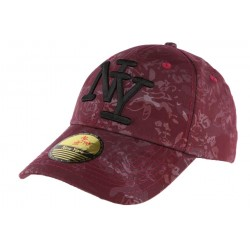 Casquette NY rouge fleurie Fashion