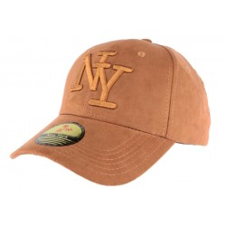 Casquette Baseball NY Marron façon daim