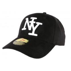 Casquette Baseball NY Noire et blanche façon daim