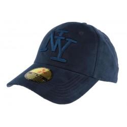Casquette Baseball NY bleu marine façon daim Stally