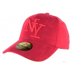 Casquette Baseball NY Rouge façon daim Stally