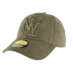 Casquette baseball NY kaki effet daim Stally ANCIENNES COLLECTIONS divers